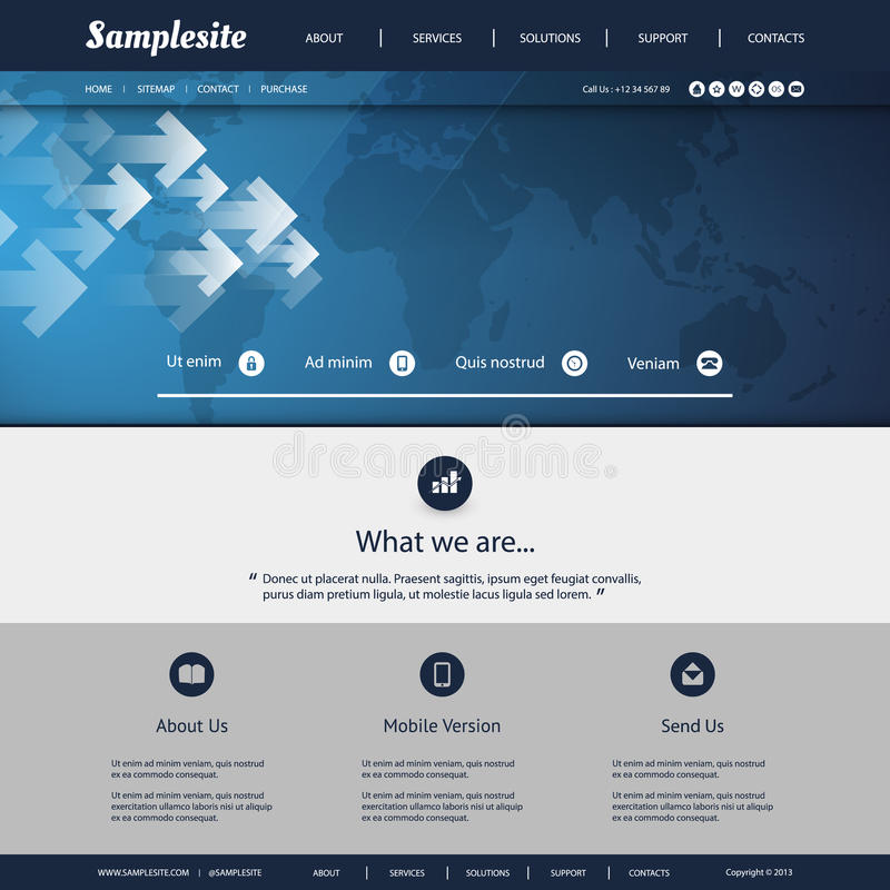 Site Map For Web Page: Website Template With World Map Background Design Stock