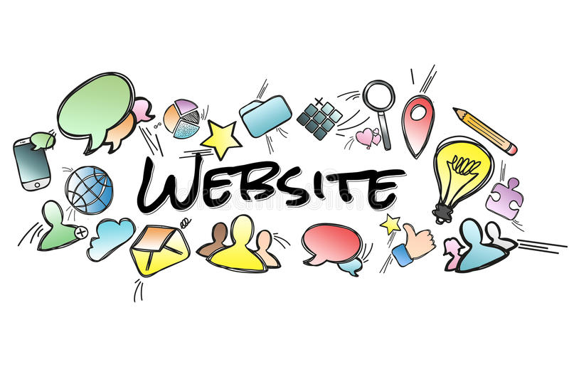 Website title isolated on a background and surounded by multimedia icons - Internet concept. View of a Website title isolated on a background and surounded by vector illustration