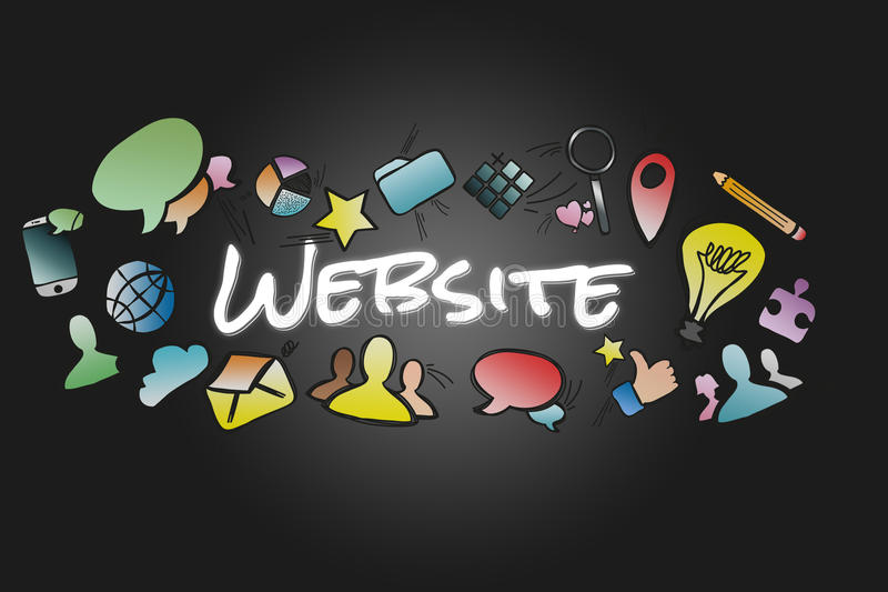 Website title isolated on a background and surounded by multimedia icons - Internet concept. View of a Website title isolated on a background and surounded by royalty free illustration