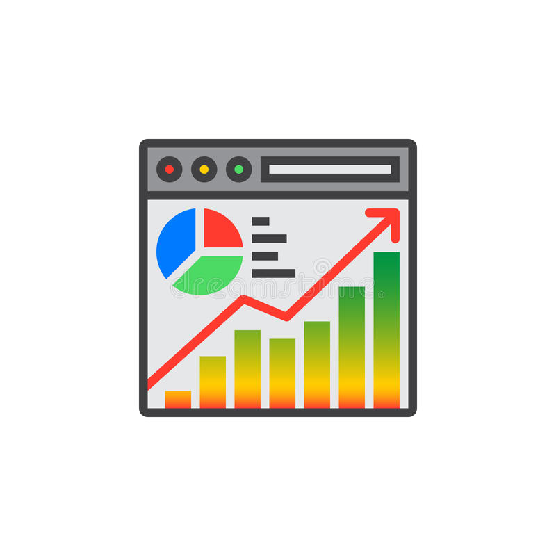 Website traffic analysis icon vector, filled flat sign, solid co royalty free illustration