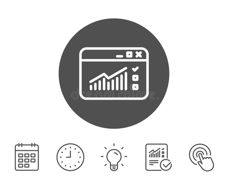 Website Traffic line icon. Report chart sign. Website Traffic line icon. Report chart or Sales growth sign. Analysis and Statistics data symbol. Report, Clock vector illustration