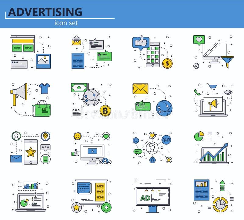 Website UI en mobiel webapp pictogram overzicht stock illustratie