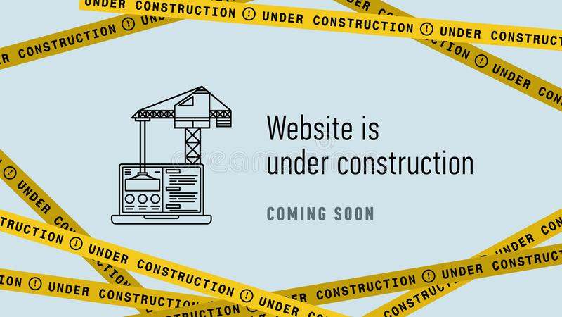 Website in under construction banner flat. Web page building process. Modern vector illustration. stock illustration