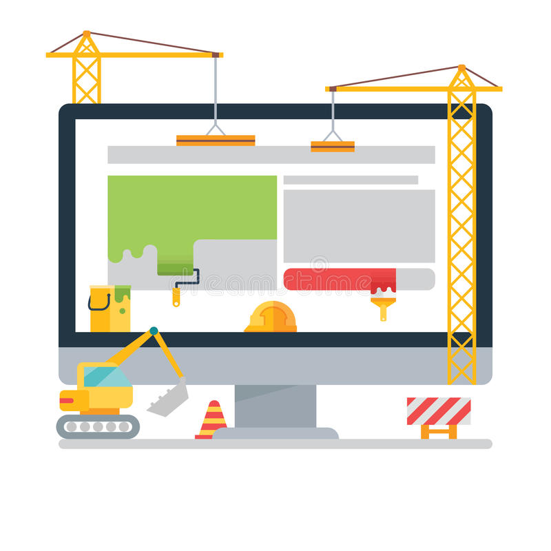 Website Under Construction. Eps 10, no transparencies stock illustration