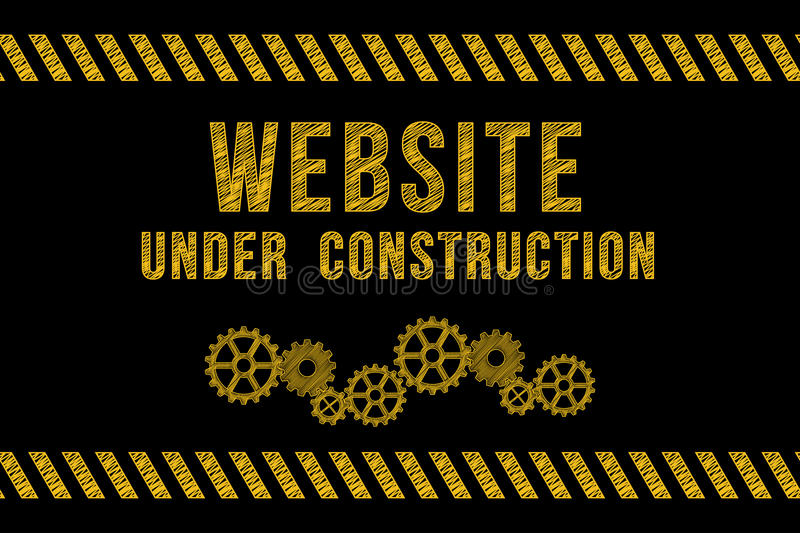 Website under construction road sign in yellow. On black with stripes and gears vector illustration