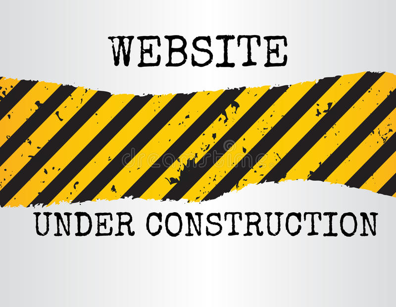 Website under construction sign. Illustration of a grunge website under construction sign with yellow and black diagonal pattern royalty free illustration