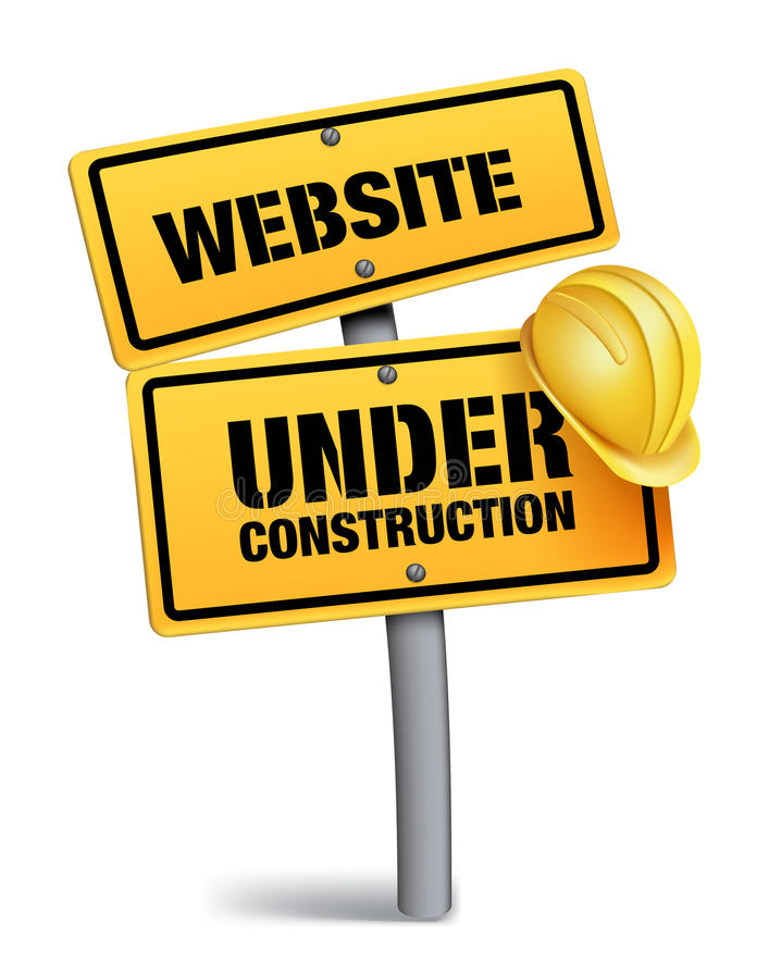 Website Under Construction Sign in White Background. 3D Mesh Vector illustration stock illustration