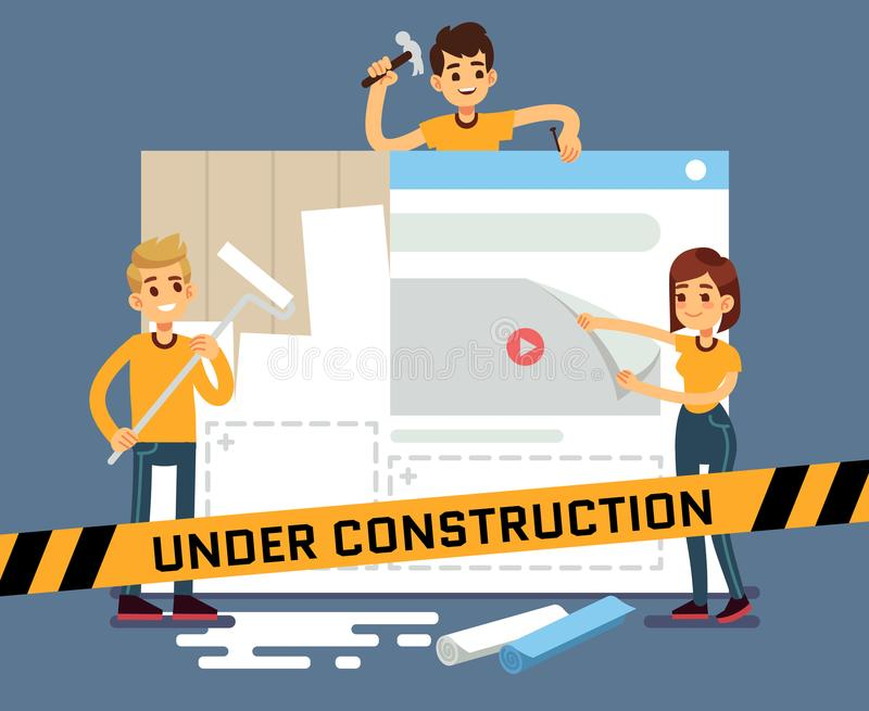 Website under construction vector cartoon concept with web designers. Web site under construction page, illustration of internet construct and development vector illustration