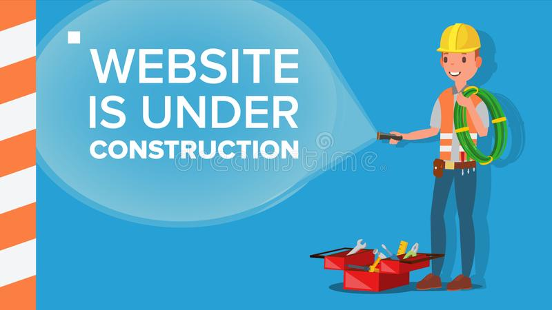 Website Under Construction Vector. Error Website Page. Coming Soon. Flat Illustration royalty free illustration