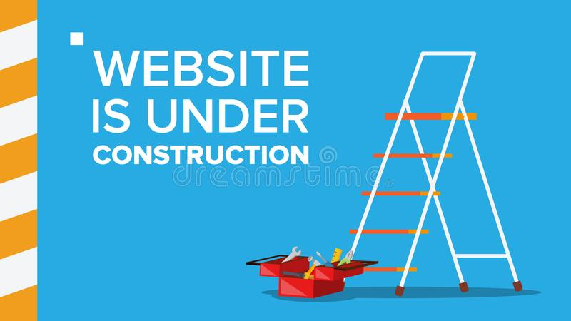 Website Under Construction Vector. Landing Page. Error Website Page. Coming Soon. Design, Development. Flat Illustration royalty free illustration