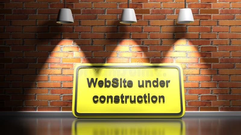WebSite under konstruktionstecken vid röda tegelstenar som tänds - 3D-återgivningsbild royaltyfri illustrationer