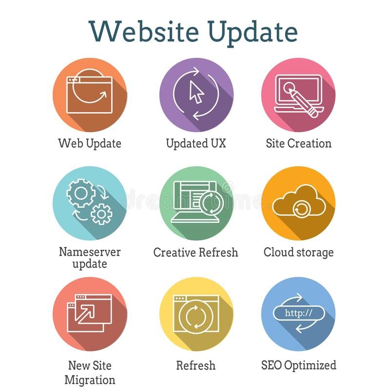 Website Update Icon Set with seo update, site creation, and name server update. Website Update Icon Set - seo update, site creation, and name server update vector illustration
