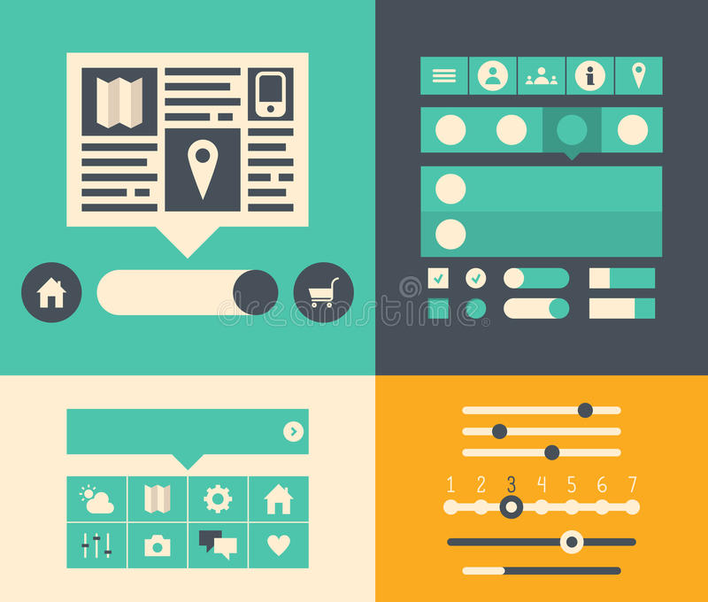 Website user interface elements stock illustration