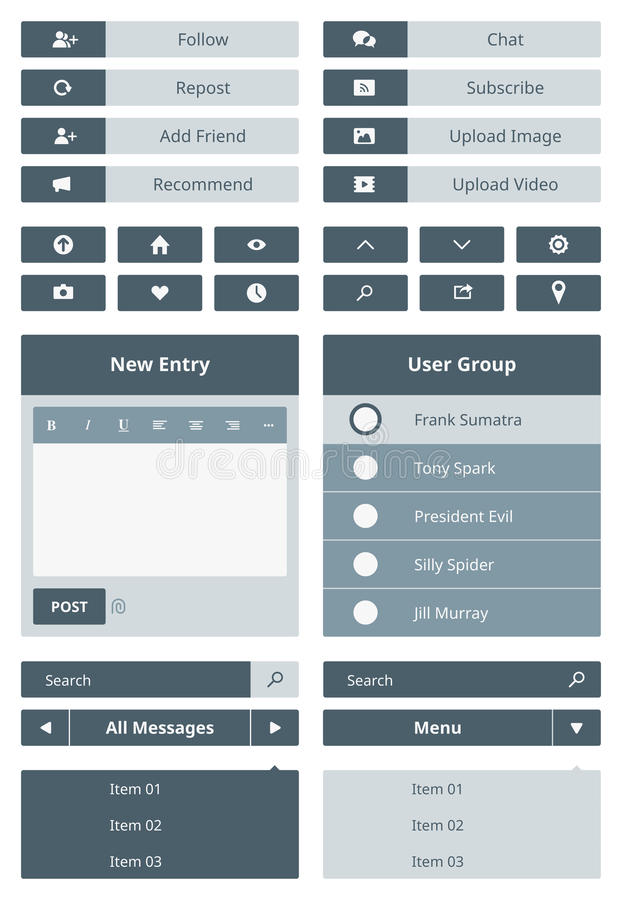 Website user interface form. Vector set of user interface navigation elements and buttons for website. Isolated on gray background stock illustration