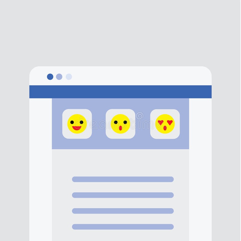 Website user interface main page with emoji icons. Vector stock illustration