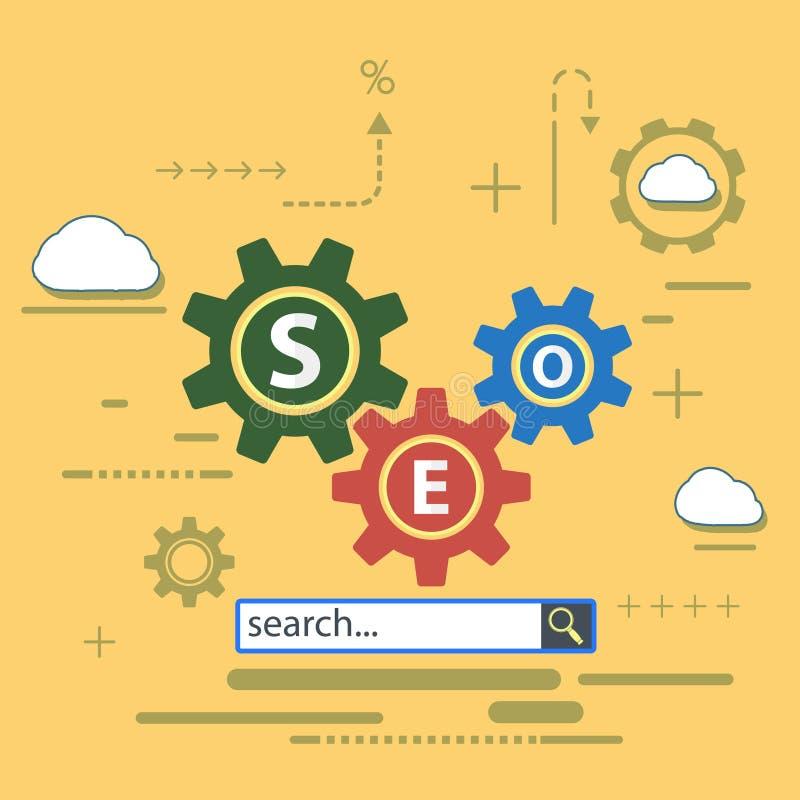 Website van de SEO-optimalisering stock illustratie