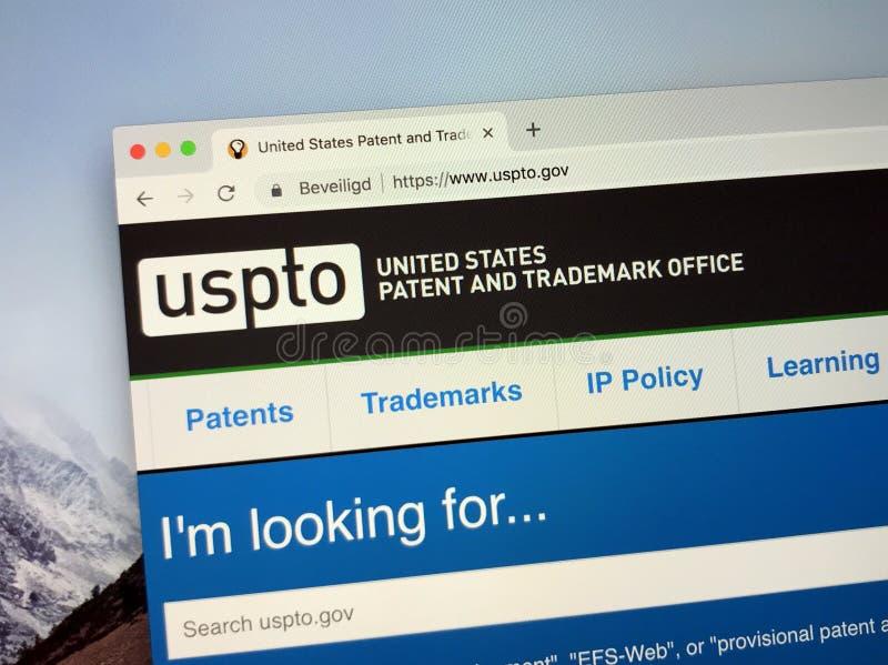 Website van het het Octrooi en het Handelsmerkbureau USPTO van Verenigde Staten stock afbeelding