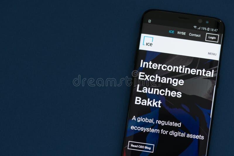 Website van Intercontinentale Uitwisseling NYSE: Ijs met aankondiging van lancering Bakkt royalty-vrije stock foto