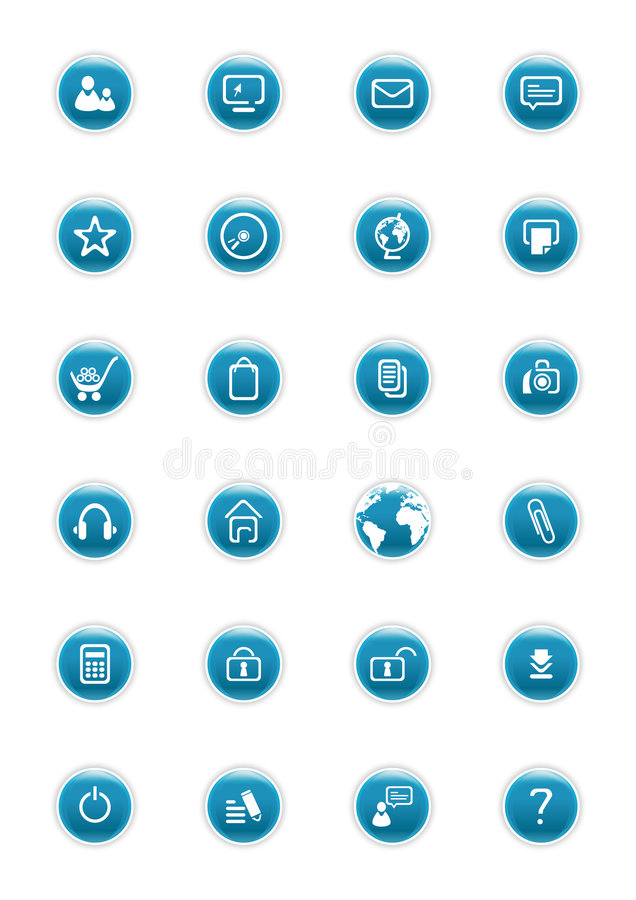 Website Vector Buttons. Website blue vector buttons with icons royalty free illustration