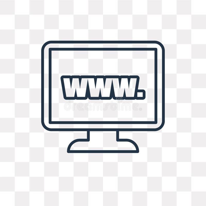 Website vectordiepictogram op transparante achtergrond, lineair W wordt geïsoleerd stock illustratie