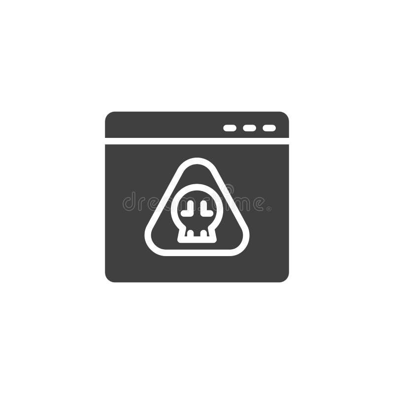 Website virus page vector icon stock illustration