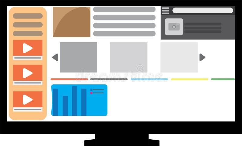 Website vlakke PC monitor royalty-vrije stock fotografie
