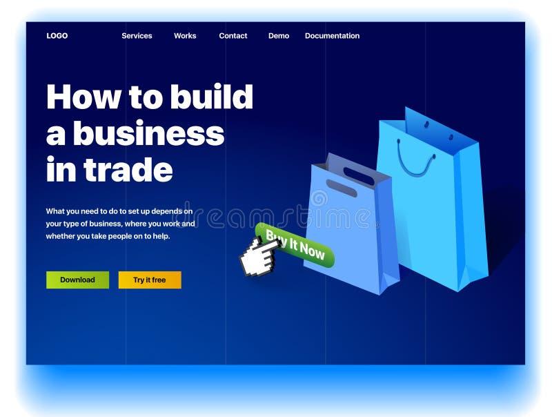 Website, welche die Dienstleistung erbringt von, wie man ein Gesch?ft im Handel aufbaut lizenzfreie abbildung