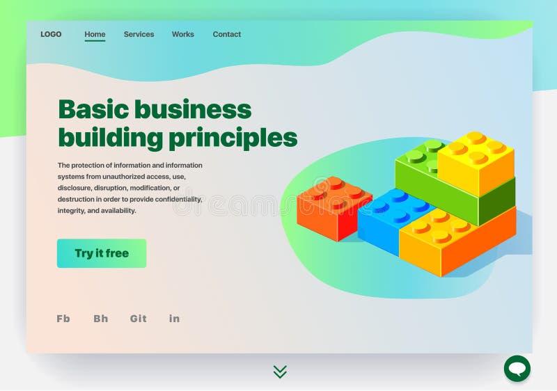Website, welche die Dienstleistung von grundlegenden Geschäftsgebäudeprinzipien erbringt vektor abbildung
