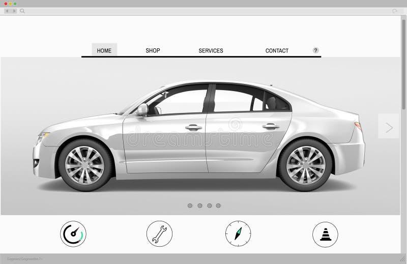 Website-Werbungs-Auto-homepage-Neuheits-Konzept stockbilder