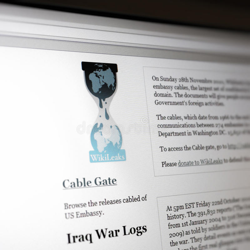 Website of Wikileaks. Presenting confidential documents concerning the war in Afghanistan. Wikileaks-activists stated via the microblogging and social network royalty free stock image