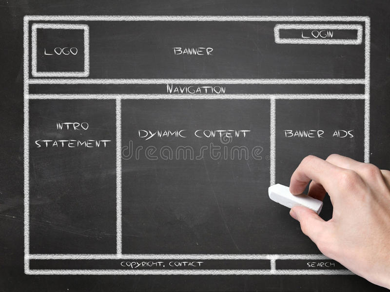 Download Website wireframe stock photo. Image of draw, plan, chalk - 25256628