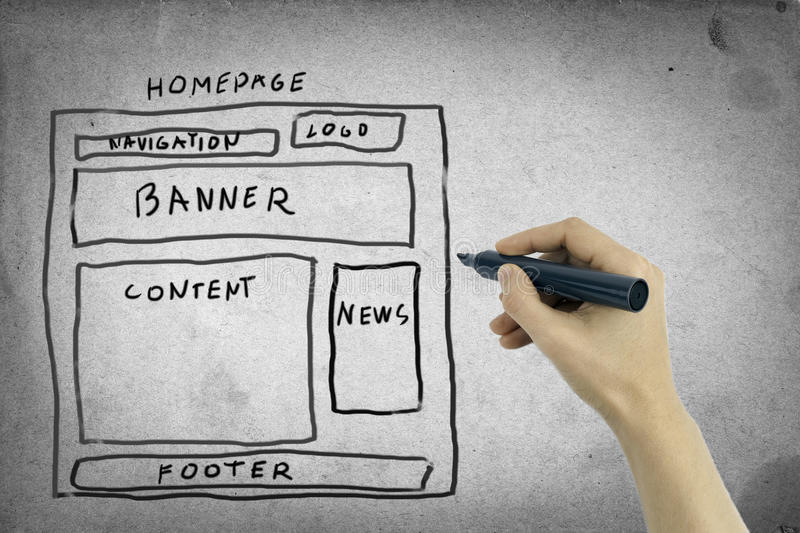 Website wireframe. On a gray background stock photography