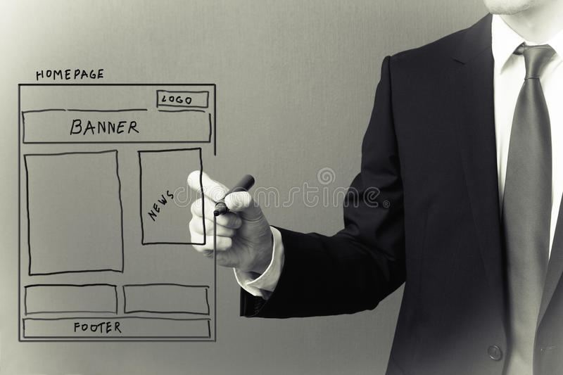 Website wireframe. On a gray background stock photo