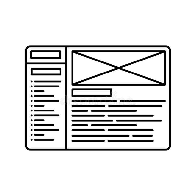 Website wireframe line icon. Outline illustration for website or logo design template. Wireframe symbol. Line icon. Website page outline illustration royalty free illustration