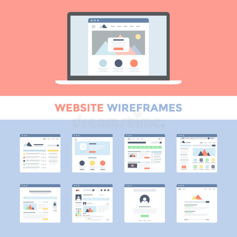 Website Wireframes. Vector set of flat website wireframes on laptop screen vector illustration