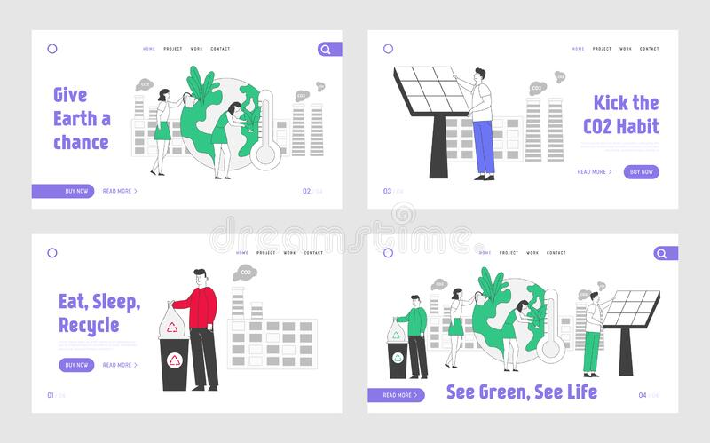 Website zur Entwicklung sauberer Elektrizität Landing Page Set Menschen bereiten sich auf den Tag der Erde vor Abfallrecyclinglös vektor abbildung