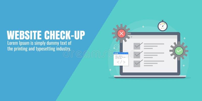 Websiteanalyse, Aktualisierung, Geschwindigkeitstest, Kodierung, programmierend, Optimierungskonzept Flache Designvektorfahne stock abbildung