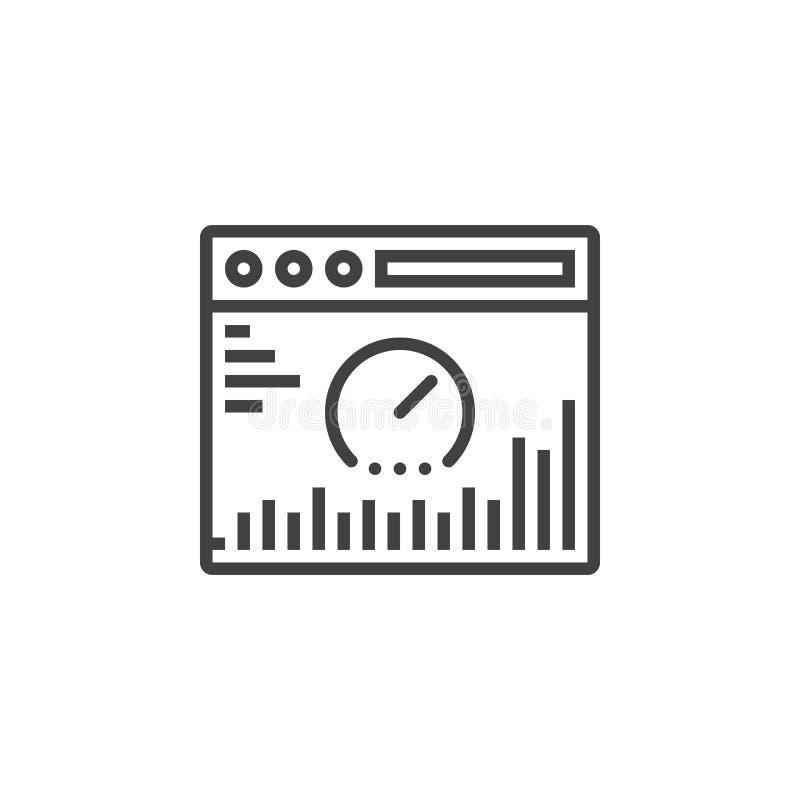 Websiteanalyslinje symbol, översiktsvektortecken, linjär pictogra royaltyfri illustrationer