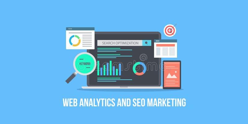 Websiteanalytics, marketing gegevens en het rapportanalyse van de seooptimalisering Vlakke ontwerp vectorbanner stock illustratie