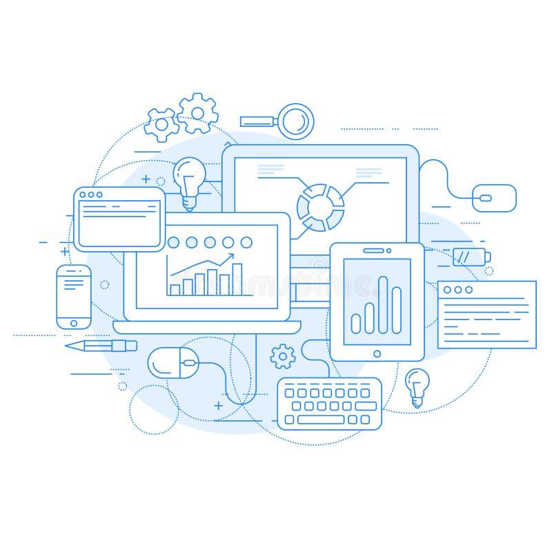 Websiteanalytik und Online-Marketings-Werkzeuge - statisics lizenzfreie abbildung