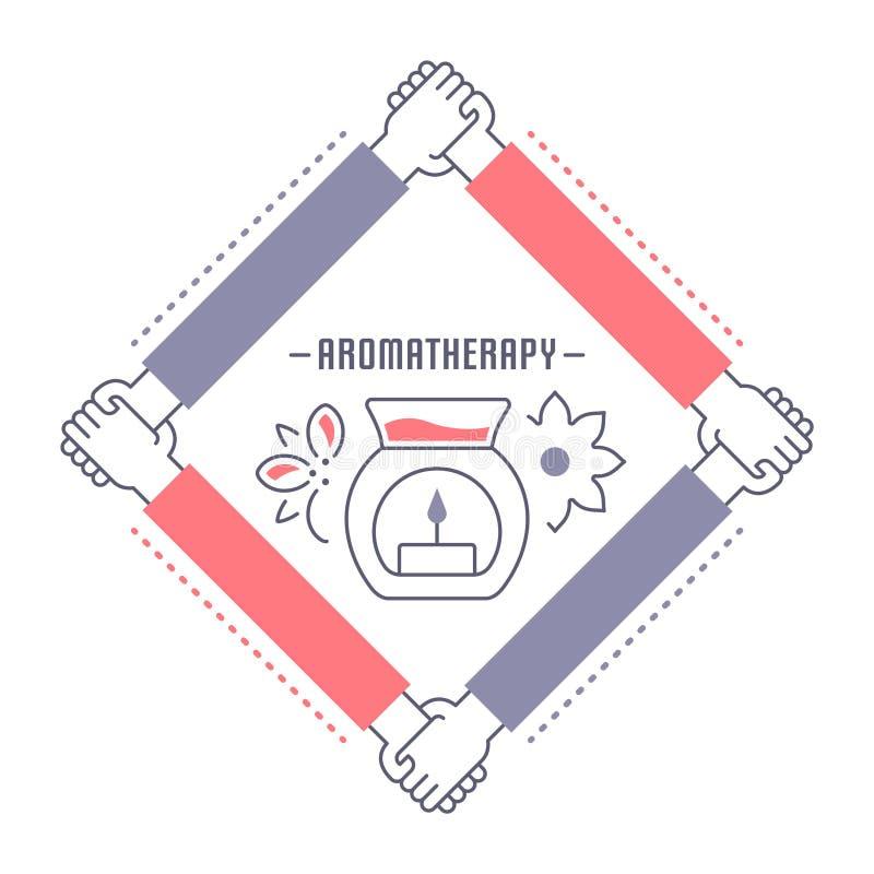 Websitebaner och landningsida av aromatherapyen royaltyfri illustrationer