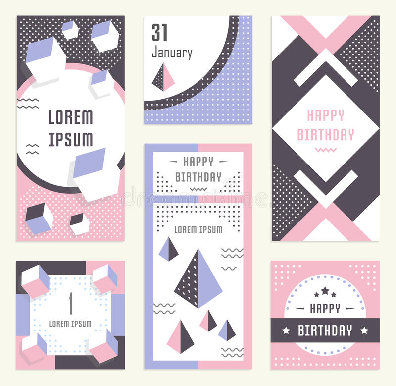 Websitebanner en het Landen Pagina Gelukkige Verjaardag royalty-vrije illustratie