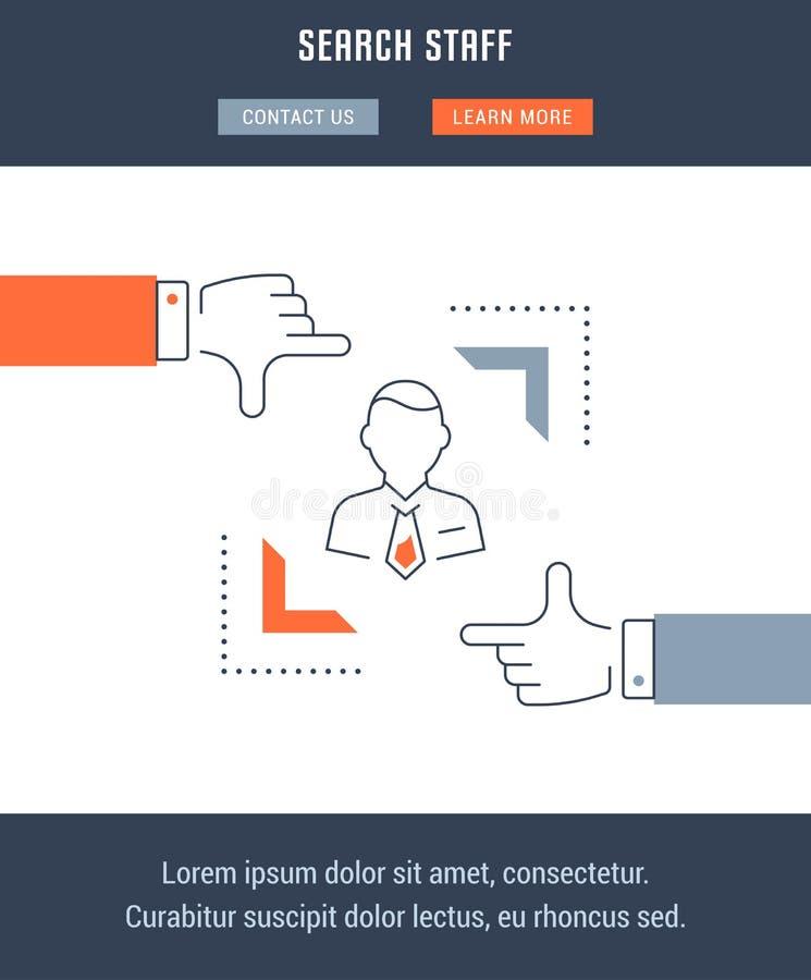 Websitebanner en het Landende Personeel van het Paginaonderzoek royalty-vrije illustratie