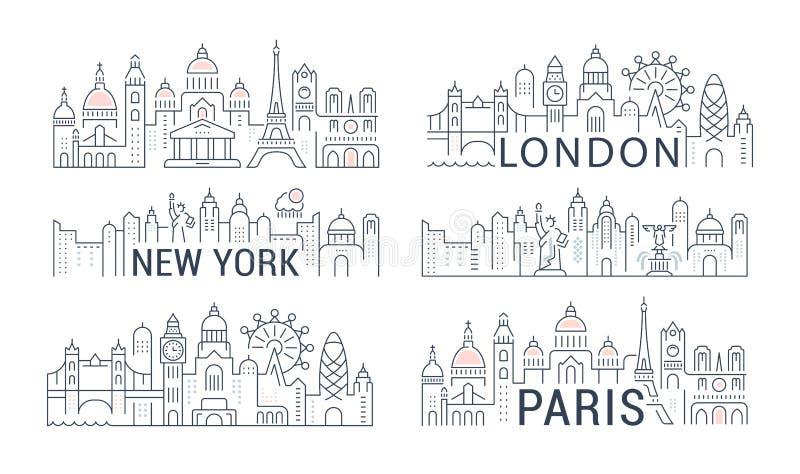 Websitebanner en Landende Pagina Parijs, Londen, New York royalty-vrije illustratie