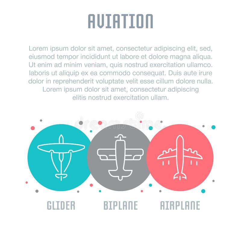 Websitebanner en Landende Pagina van Luchtvaart stock illustratie
