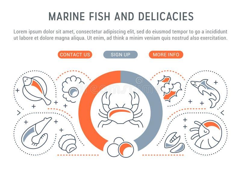 Websitebanner en Landende Pagina van Marine Fish en Delicatessen vector illustratie