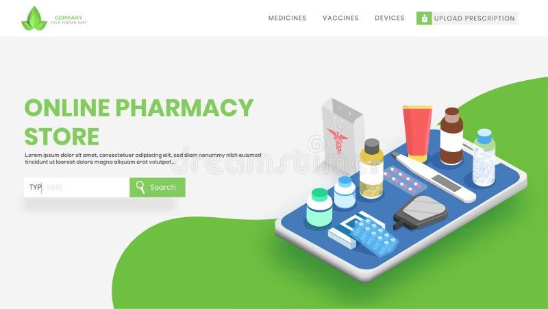 Websitebanner met verschillende medische apparatuur op het concept van het smartphonescherm voor het Online Concept van de Apothe stock illustratie