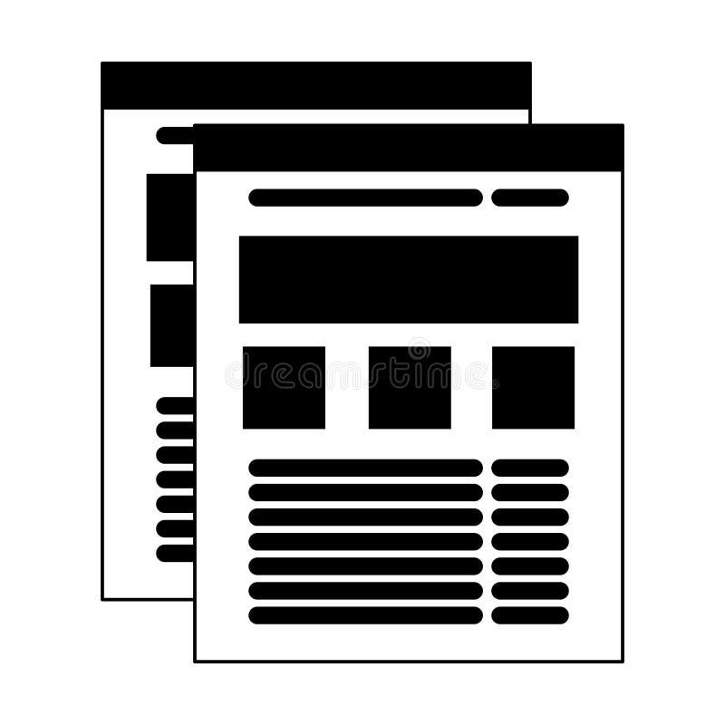 Websitebrowser mit Informationen im Seitensymbol in Schwarzweiss stock abbildung