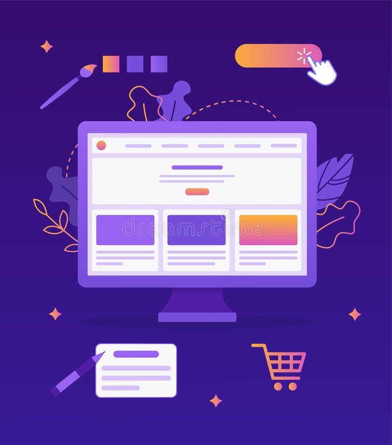 Websitebyggmästarebegrepp vektor illustrationer