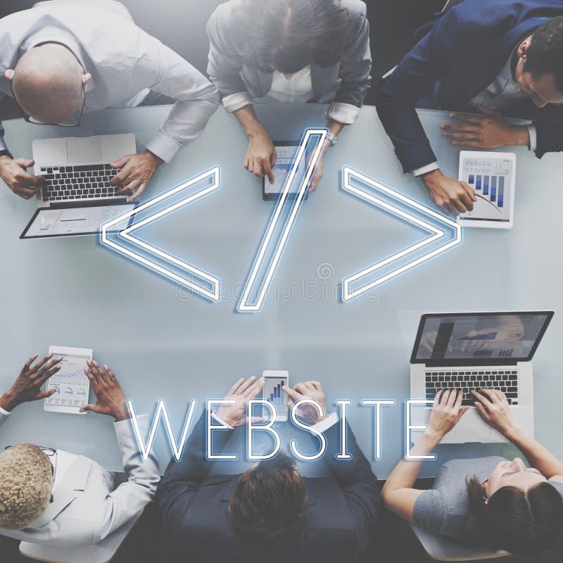 Websitecodage die Technollgy-Globaliseringsconcept programmeren royalty-vrije stock foto